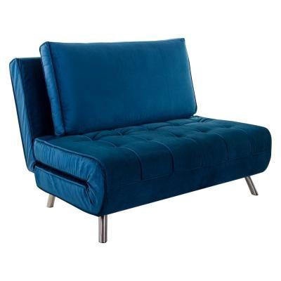 Ágyazható bársony szövet fotel, párnával, királykék - COPAINS