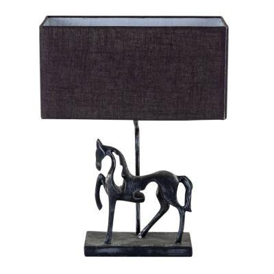 Asztali lámpa, szürrealista ló szoborral, búrával, szürkésbarna  - DON QUICHOTTE