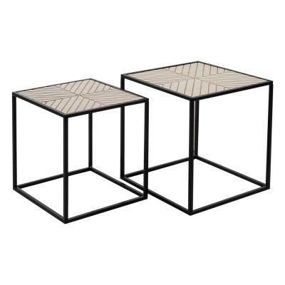 Asztalka szett, fahatású asztallappal, fekete - ALASKA