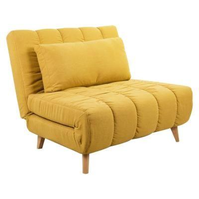 Ágyazható szövet fotel, párnával, okkersárga - COPAINS