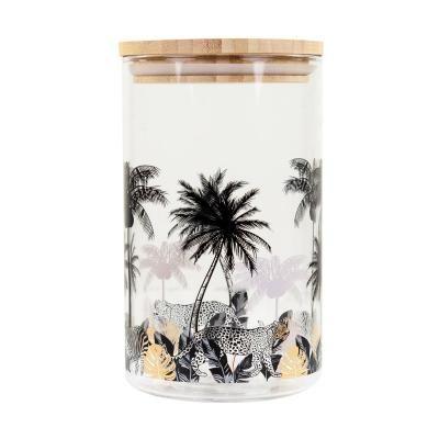 Tároló boroszilikát üveg bambusz tetővel, 1 liter - PALMIERS