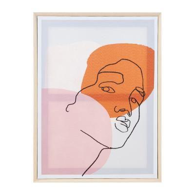 Vászon falikép, vonalrajz arc, 45x60 cm, púder-narancssárga - TU VIENS?
