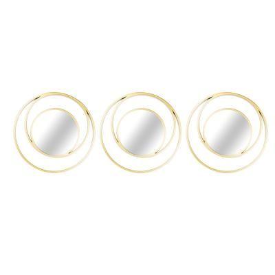 Fém keretes kör alakú tükör szett, 3 db, 25x25 cm, arany - RONDISME