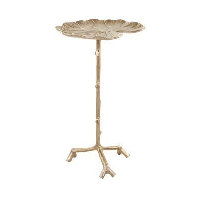 Tavirózsa levél alumínium telefonos asztalka, kicsi, arany - NENUPHAR