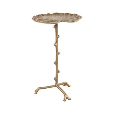 Tavirózsa levél alumínium telefonos asztalka, közepes, arany - NENUPHAR
