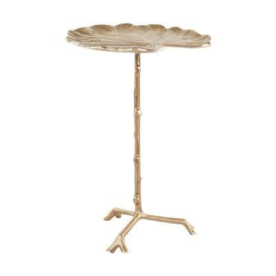 Tavirózsa levél alumínium telefonos asztalka, nagy, arany - NENUPHAR