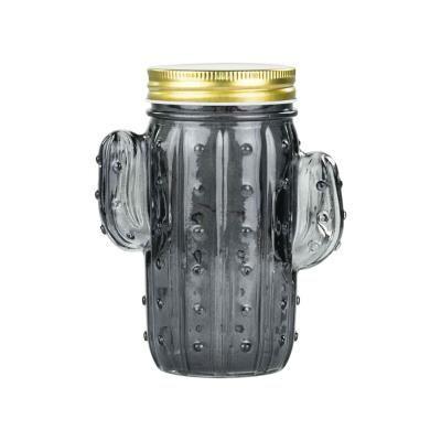LED-es kaktusz formájú üveg, fekete - CACTUSSEAU