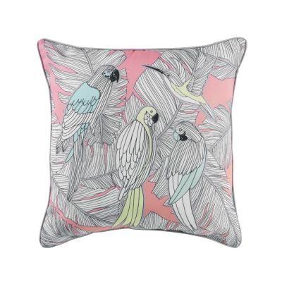 Papagáj és kolibri mintás díszpárna, 40x40 cm, rózsaszín - COMERES
