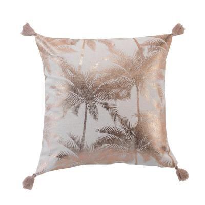 Pálmafa mintás díszpárna, rojtokkal, 40x40 cm, bézs-rosegold - REVE EXOTIQUE