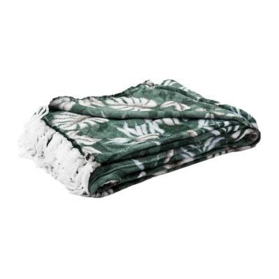 Dzsungel mintás pléd, rojtokkal, 125x150 cm, sötétzöld - PRINTEMPS