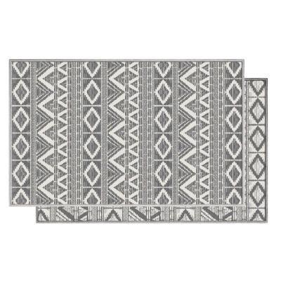 Kétoldalú rombusz mintás szőnyeg, 120x170 cm, krémszínű-szürke - BERMUDE