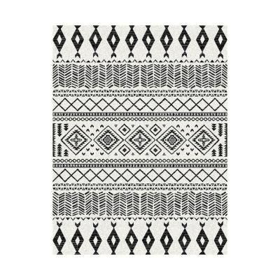 Szövött viszkóz szőnyeg, fekete mintával, 68x110 cm, törtfehér - SIOUX