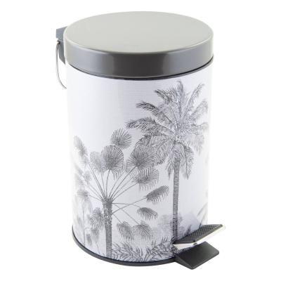 Pedálos szemetes, pálmafa mintával, 3 literes, fehér-szürke - POUBELLE
