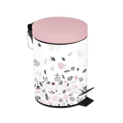 Pedálos szemetes, növény mintával, 3 literes, fehér-rózsaszín - POUBELLE