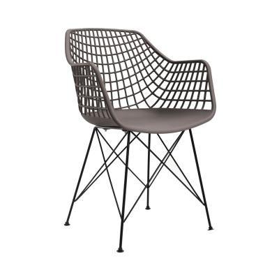 Modern műanyag szövött szék, szürkésbarna - JAZZ