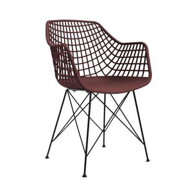 Modern műanyag, hálós szék, burgundi - JAZZ