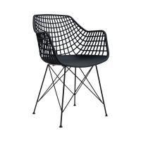 Modern műanyag, hálós szék, fekete - JAZZ