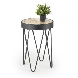 Fekete dohányzóasztal, fa berakással - SILVANO