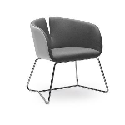 Modern fotel hajlított acél lábakkal, szürke - CLODETTE