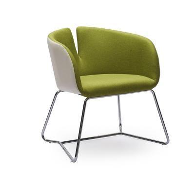 Modern fotel hajlított acél lábakkal, zöld - CLODETTE