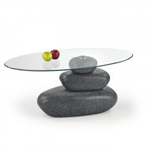 Üveglapos dohányzóasztal, grafitszürke vázzal - GALETS