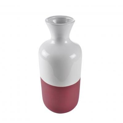 Kerámia váza, fehér és bordó - CORTE