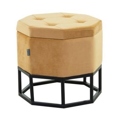 Tárolós bársony ülőke, hexagon, fekete talppal, okkersárga - BAYADERE