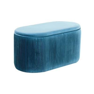 Ovális bársony ülőke tárolórésszel, kék - SHEHERAZADE