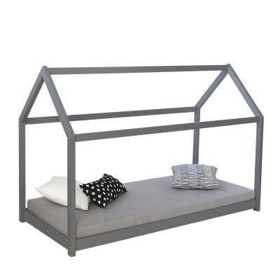 Házikó ágykeret 90x200 cm, szürke - OZ