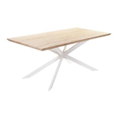 Fa hatású étkezőasztal, fehér lábakkal 180x90 cm -LONG ISLAND