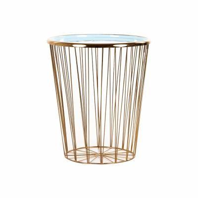 Fém dohányzóasztal, arany-türkiz, 40 cm - FEUILLANTINE
