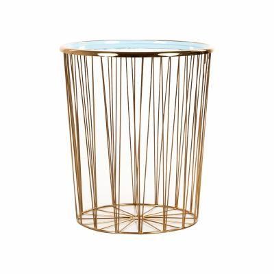 Fém dohányzóasztal, arany-türkiz, 48 cm - FEUILLANTINE