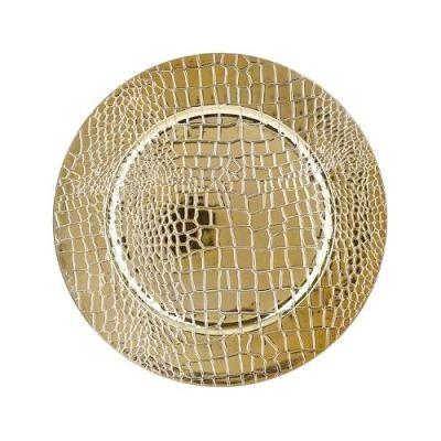 Kígyóbőr mintás karácsonyi dísztányér, 33 cm, arany - KROKO