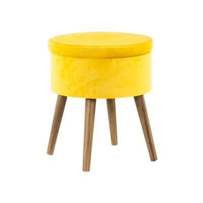 Bársony ülőke tárolóval, mustársárga - TORTUE