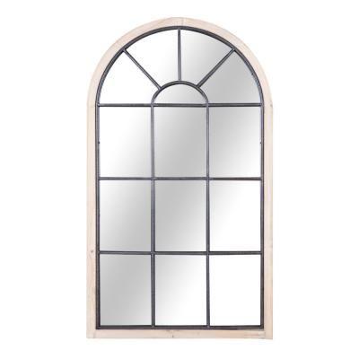 Ablak alakú tükör, fa kerettel, barna - MANOIR
