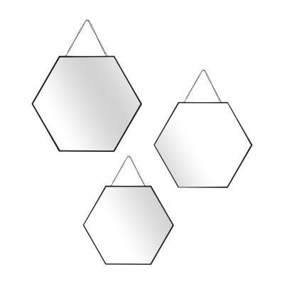 Hatszögletű tükör szett 3 db-os, fekete kerettel - EXOPLANETE