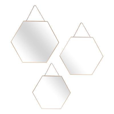 Hatszögletű tükör szett 3 db-os, arany kerettel - EXOPLANETE