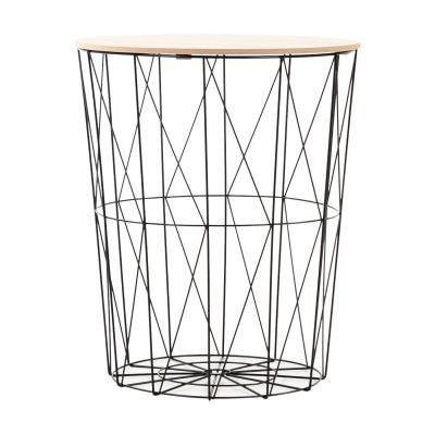 Fém kosaras kisasztal, fekete vázzal - GRILLE