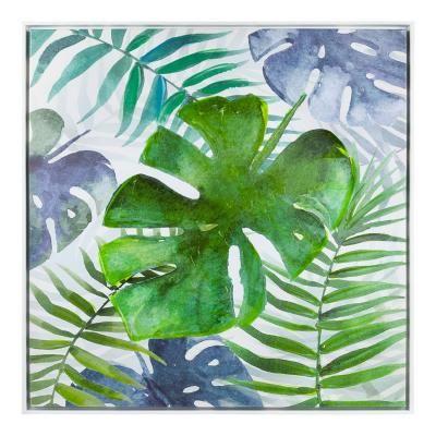 Keretezett falikép, 78x78 cm, dzsungel mintás, zöld - FEUILLE