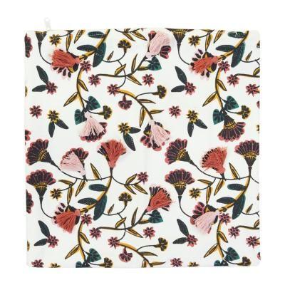 Színes virágmintás párnahuzat, rojtokkal, 40x40 cm, fehér - TEATIME