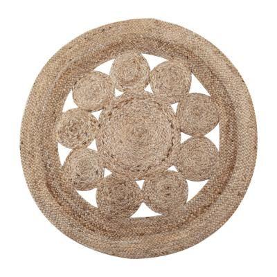Kerek juta szőnyeg, 80 cm, natúr - DAME DE CARREAU