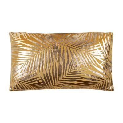 Arany levél mintás díszpárna, 50x30 cm, okkersárga - PALME D'OR