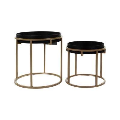 Kerek asztalka szett, 2 db, fa mintázattal, fekete-arany - CASSIS