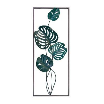 Fém leveles fali dekoráció, 25x61 cm, sötétzöld  - PLANTE
