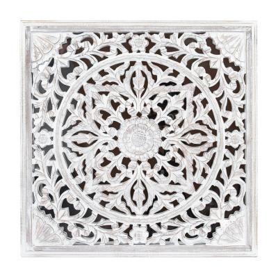 Tükrös falikép, etno díszítéssel, 58x58 cm, fehér - TAPIS