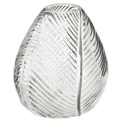 Üveg váza erezet mintával, átlátszó - BOUTON