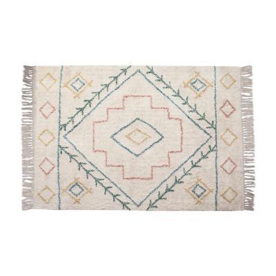 Rojtos pamutszőnyeg, pasztell mintával, 170x120, fehér - SUEDE