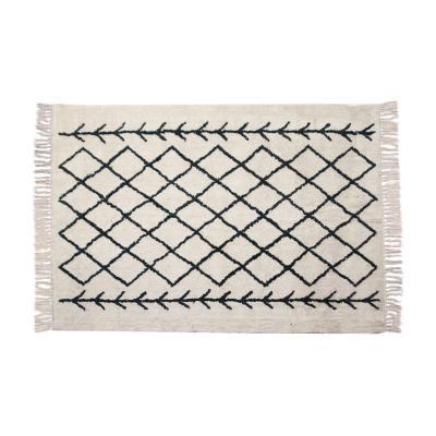 Rojtos pamutszőnyeg, fekete mintával, 170x120, fehér - PRIMITIF