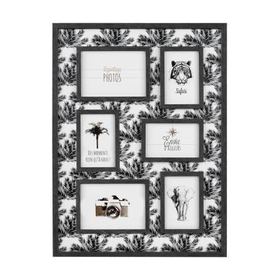 Pálma mintás falikép képkeretekkel, 42x62, fekete - NOUS