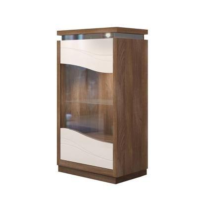 Vitrines szekrény 3 polccal, LED világítással, bézs - diófa - SALENTO